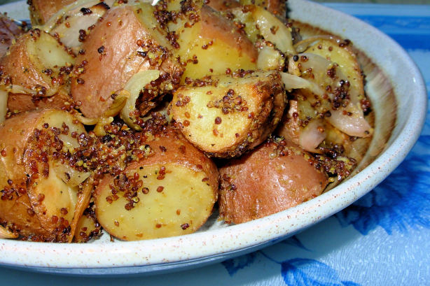 Mustard-Crusted Roast New Potatoes With Shallots And Garlic Recipe ...