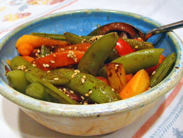 Sesame Snow Peas And Peppers Recipe — Dishmaps