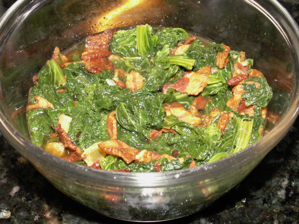 Neelys Braised Mustard Greens With Bacon And Raisins Recipe - Food.com