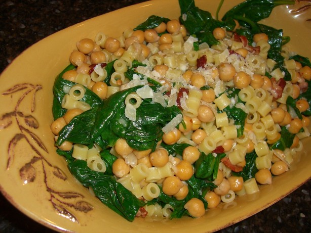 Pasta With Spinach, Chickpeas, And Bacon Recipe - Food.com