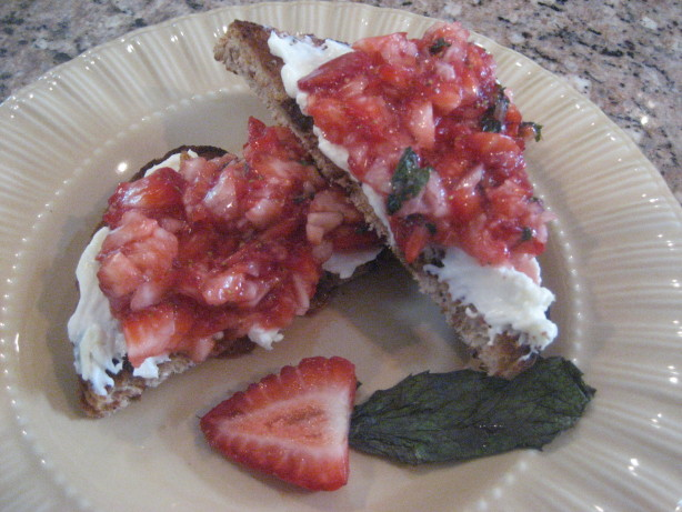 Strawberry Dessert Bruschetta Over Mascarpone And Raisin Bread Recipe ...