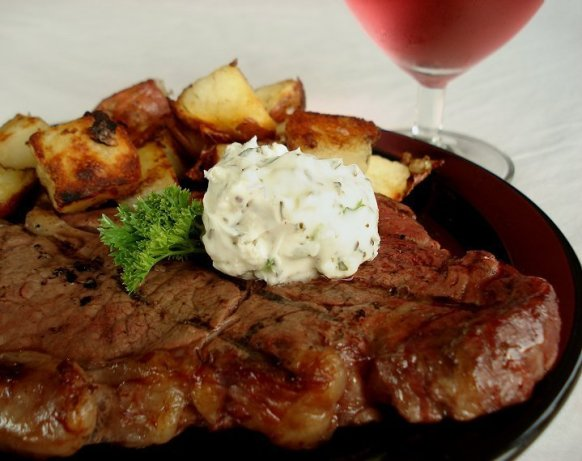 Grilled Steaks With Blue Cheese Garlic Sauce Recipes — Dishmaps