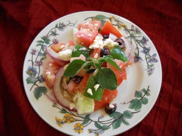 Greek Tomato Salad With Feta Cheese And Olives Recipe ...