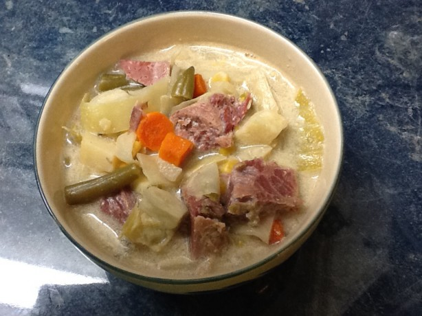 Slow Cooker Corned Beef And Cabbage Chowder Recipe Food Com