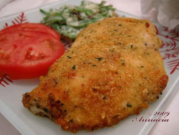 Baked Crisp Parmesan Romano Chicken Recipe — Dishmaps