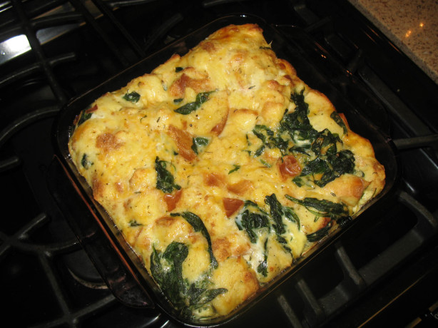 Spinach And Jack Cheese Bread Pudding Recipe Food Com