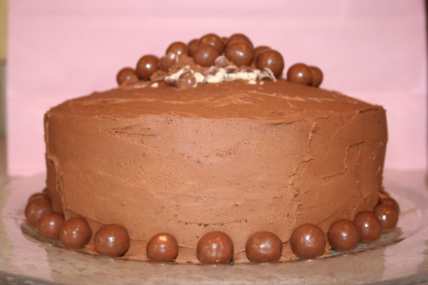 Deep Chocolate Cake With Double Malt Topping