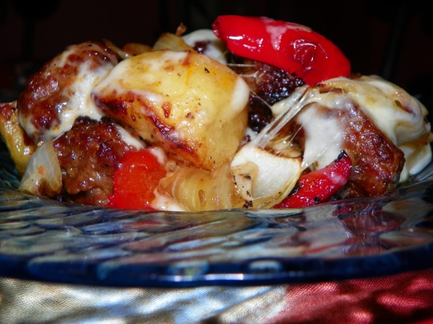 Roasted Italian Sausage And Potatoes With Mushrooms And Peppers Recipe ...
