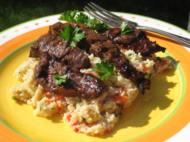 Moroccan Beef With Honey Spice Couscous RecipeFood.com