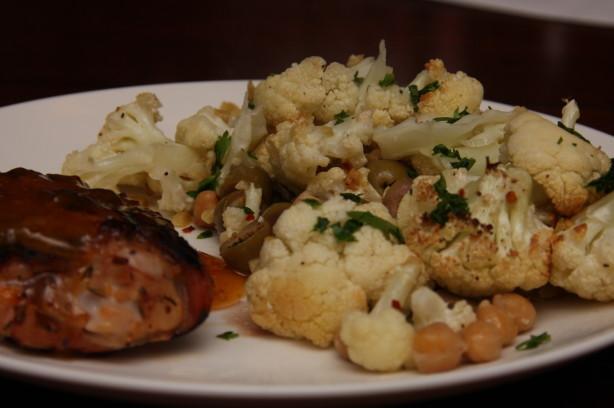 Roasted Cauliflower, Chickpeas, and Olives