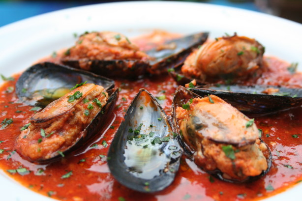 Stuffed Mussels In Spicy Tomato Sauce Recipe - Food.com