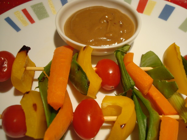 Thai-Style Veggie Kabobs With Spicy Peanut Sauce Recipe - Food.com