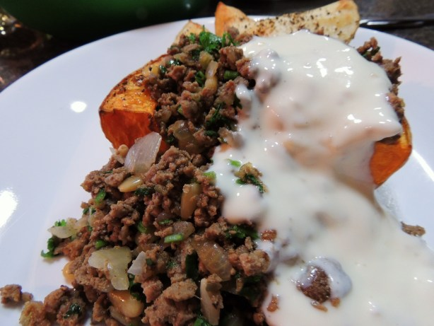 Butternut Squash With Lebanese Spiced Ground Beef And Garlic Yog Recipe - Genius Kitchen