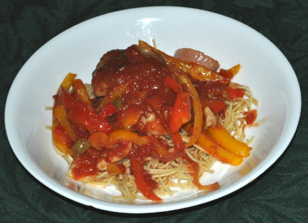 Braised Chicken Thighs With Bell Peppers, Olives And Tomatoes Recipe ...