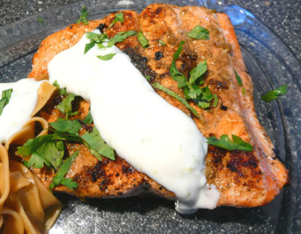 Salmon With Coriander Rub And Lime Cream Recipe - Food.com
