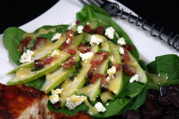 Spinach Pear Salad W Bacon And Honey Dijon Dressing Recipe - Food.com