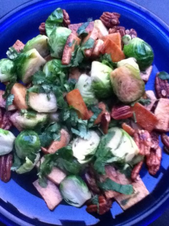 Caramelized Tofu And Brussel Sprouts With Cilantro And Nuts Recipe ...