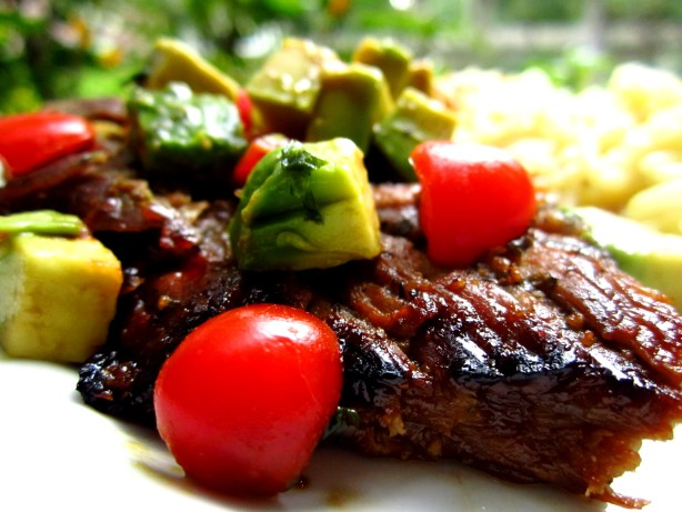 Honey-Lime Grilled Skirt Steak With Avocado-Tomato Relish Recipe ...