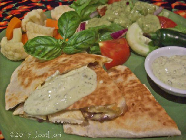 Cumin Crusted Chicken Cheddar Quesadillas W Basil Sour Cream Recipe