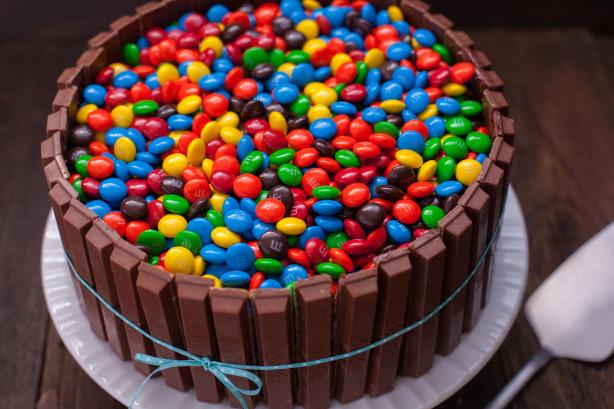Bucket Of Mandms Kit Kat Cake Recipe Food Com