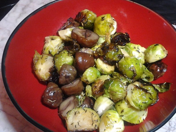 Roasted Brussels Sprouts With Chestnuts Recipe — Dishmaps