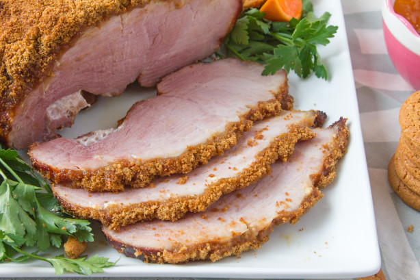 Gingersnap Crusted Ham With Apricot Mustard Sauce Recipe ...