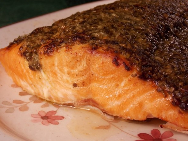 ... broiled salmon pesto recipes dishmaps stephan s broiled salmon pesto
