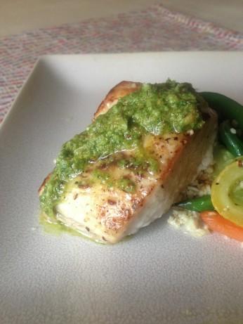 Pan roasted cobia with double basil pesto recipe for Cobia fish recipes