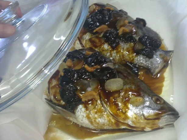 Oven baked fish in casserole with dried plums recipe for Oven baked fish