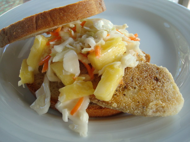 Healthy crispy fish sandwich with pineapple slaw recipe for Fish sandwich recipe