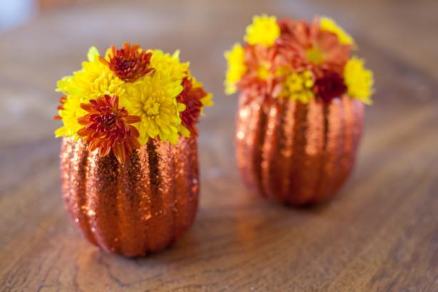 Sparkling pumpkin flower holder centerpiece recipe food