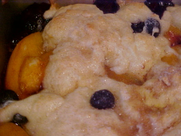 Peach Berry Cobbler With Sour Cream Biscuits Recipe — Dishmaps