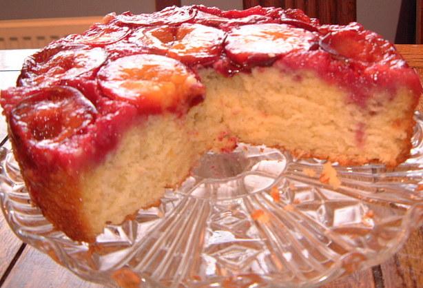 Fresh Plum & Blueberry Upside-Down Cake