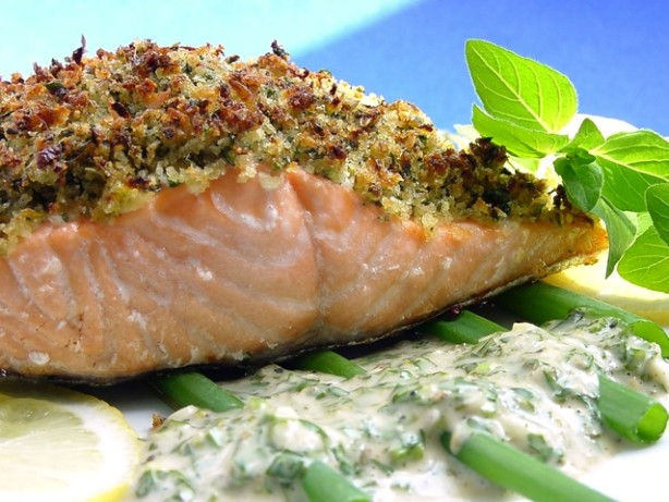 Baked Salmon With Lemon-Oregano Crumb Topping Recipe - Food.com