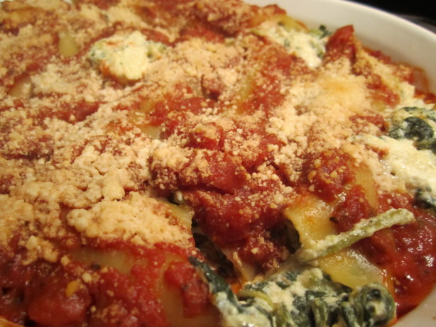 Kittencals Spinach And Four-Cheese Manicotti Vegetarian) Recipe - Food ...