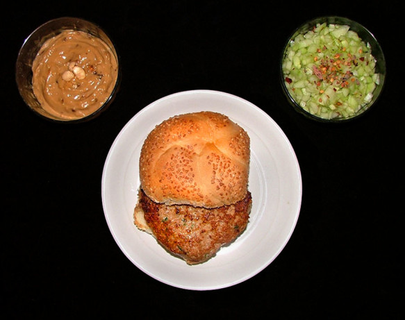 Chicken Burgers With Satay Sauce And Spicy Cucumber Relish Recipe ...