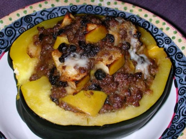 Ground Beef And Apple Filled Acorn Squash Halves Recipe