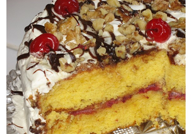 Banana Split Cake Made With Yellow Cake Mix
