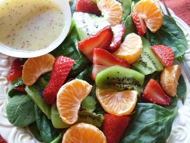 Spinach, Strawberry, Mandarin Salad With Poppy Seed Dressing Recipe ...