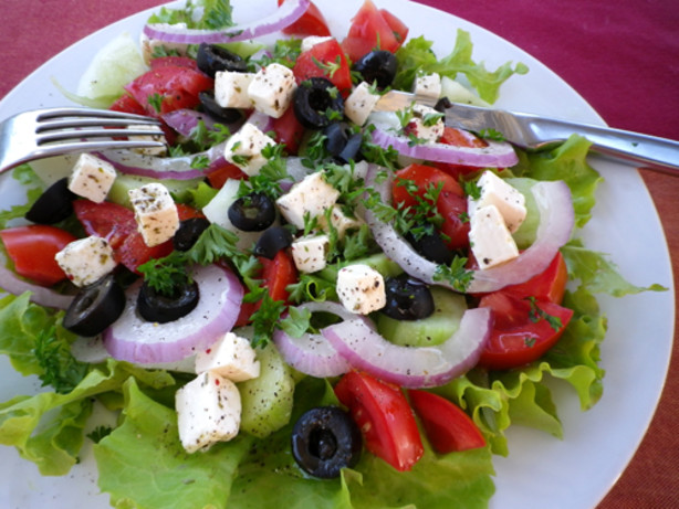 Kittencals Greek Marinated Tomato, Olive And Feta Salad Recipe - Food ...