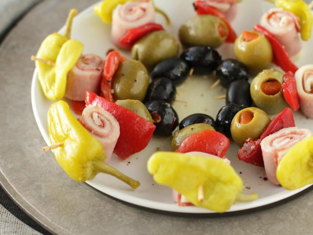 Food Recipe Mini Muffuletta Kabobs