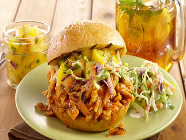 Pulled Chicken Sandwiches With Peach Salsa Recipe - Food.com