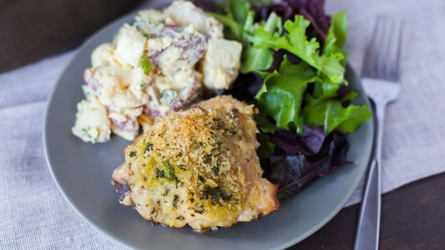 baked chicken thighs with bread crumbs