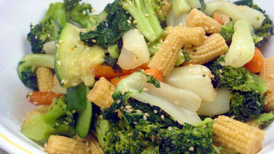 Steamed Vegetables With Honey Sesame Dressing Recipe