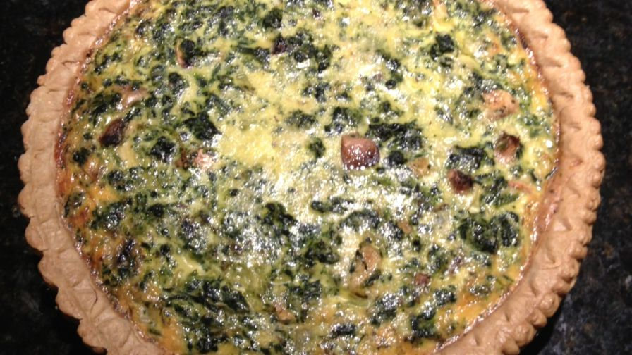 Easy spinach and mushroom quiche recipe genius kitchen 4 view more photos save recipe forumfinder Choice Image