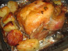 Onion Stuffed Roast Chicken With Potatoes. Recipe by A Messy Cook