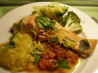 Grilled Salmon With Sicilian Tomato Sauce. Recipe by Ailsa of New Zealand