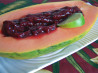 Papaya With Raspberry-Lime Sauce. Recipe by ellie_