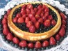 Red, White and Blue Cheesecake With Chocolate Cookie Crust.. Recipe by MsPia