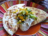 Chicken Quesadillas With Fruit Salsa and Avocado Cream. Recipe by GibbyLou